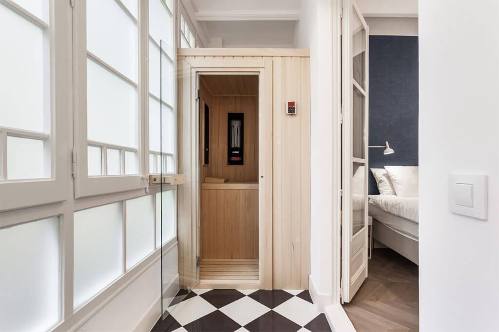 Master bathroom design sauna la sauna benches for 9x6 bathroom design